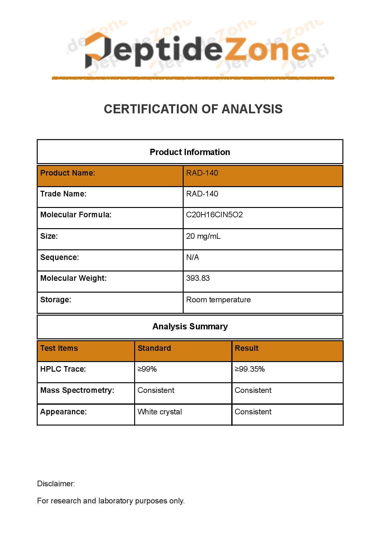 20 mg RAD 140 / ml - PeptidezonePeptidezone
